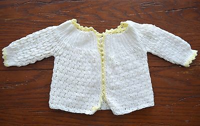 Vintage Hand Crochet Baby Infant Sweater Jacket White With Yellow Trim