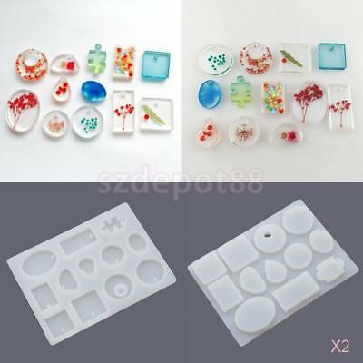 2x Pendant Silicone Mold Jewelry Making Tool Beading Round Square Shape Maker