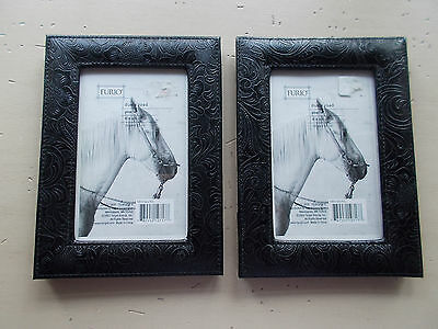Lot 2 Black Embossed Pleather Western Picture Frames 4x6 Tabletop