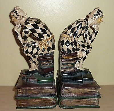 Pair of Harlequin Bookends ... nice older resin pair, thinker pose