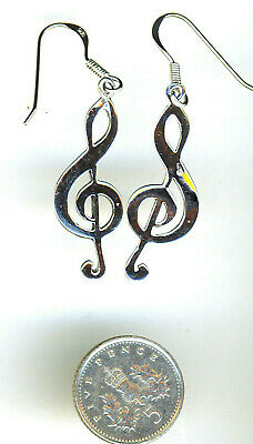 """925 Sterling Silver Large Musical  Note Treble Clef Long Drop Earrings 55mm 2/"""""""