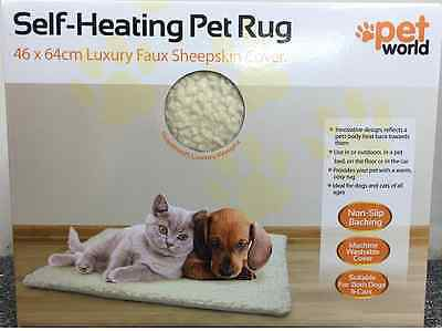 Self-Heating Pet Rug 46 x 64 Luxury Faux Sheepskin Cover.Suitable for cats/dogs