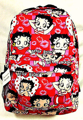 """Pink/Red BETTY BOOP """"Polka Dot Hearts & Lips"""" Large 16"""" BACKPACK Tote Travel Bag"""