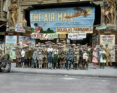 1925 Saturday Matinee At Movies 8X10 Colorized Photo Theater Air Mail Aviation