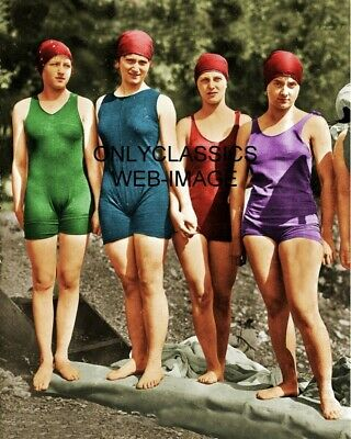 1920 Mermaid Club Philadelphia Pa Colorized Photo Sexy Swimsuit Girls At Beach
