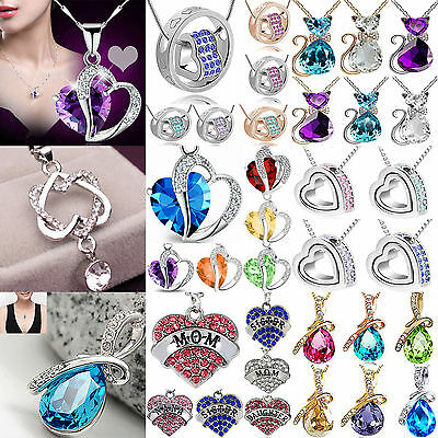 NT Women Heart Crystal Rhinestone Silver Plated Chain Pendant Necklace Jewelry