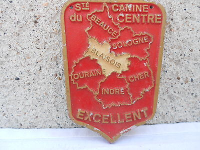 Vintage French metal AWARD DOG Plaque Sign EXCELLENT