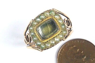 ANTIQUE ENGLISH GEORGIAN PERIOD 15K GOLD PEARL MOURNING RING 'M FOLWELL' c1800