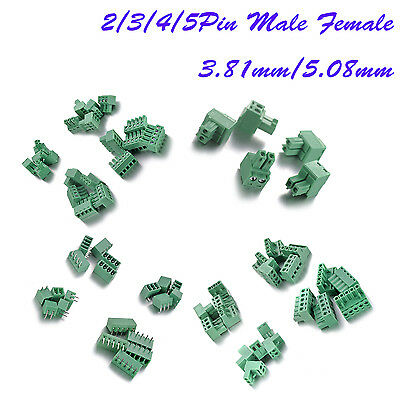 2/3/4/5Pin 3.81mm or 5.08mm PCB Screw Terminal Block Plug Connector 5/10Pcs
