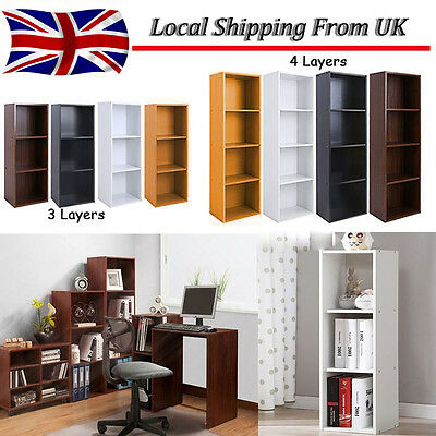 1, 2, 3, 4 Tier Wooden Bookcase Shelving Display Shelves Storage Unit Wood Shelf