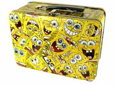 Spongebob Squarepants Face Montage Yellow Lunch Box Tote Tin Case New