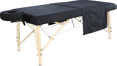 Massage Table Cover 3pc Flannel Set in Black