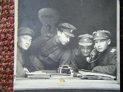Russian Officers on Telephone / Guitar Real Photo Postcard original