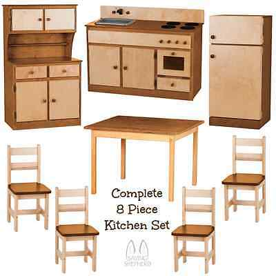 Deluxe Kitchen Play Set 8pc Natural Walnut Amish Handmade Kids Toy