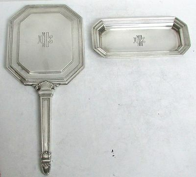 Superb 1925 Tiffany & Co Sterling Silver Vanity Hand Held Mirror & Makeup Dish