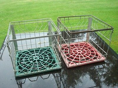 Lot Of 2 Milk Crates Steel Metal Wire Vintage Dn1-200