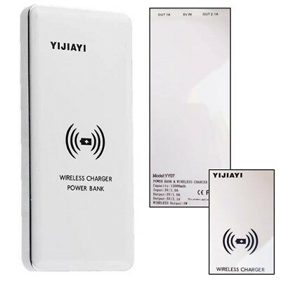 Qi Wireless Induction Battery Charger Transmitter Pad + Power Bank 12000mAh WH