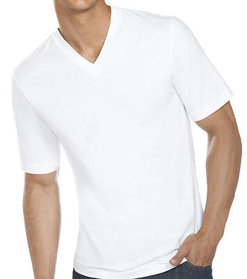 New 3-6 Pack Mens 100% Cotton Tagless V-Neck T-Shirt Undershirt Tee White S-XL