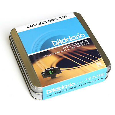 D'Addario EJ16-5DTUN 5 Sets Acoustic Guitar Strings 12-53 +Tuner +Tin - New