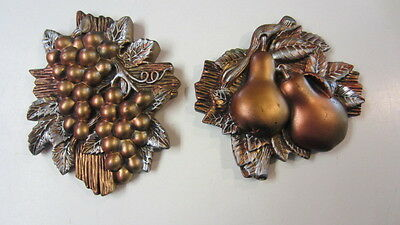 1964, Miller Studio Chalkware Hollywood Regency Wall Plaques, Pears & Grapes