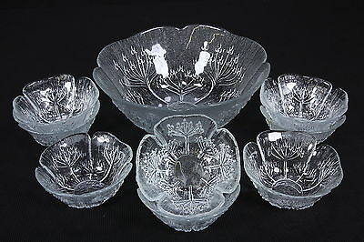 Italian Textured Glass Master Salad & 8 Individual Bowls Cabbage Leaf Or Flower