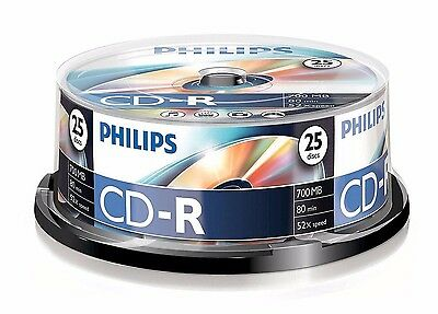 25 Philips CD-R RECORDABLE CD's 25 Blank CD Discs