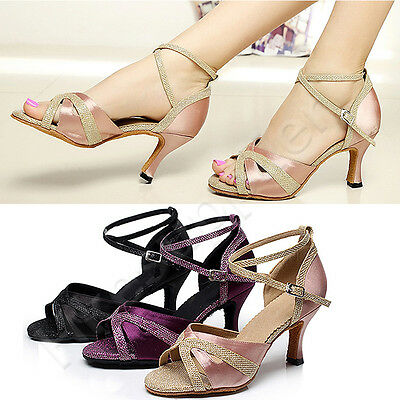 New Women Satin Latin Salsa Ballroom Dance Shoes Soft Sole High Heels Size 33-43
