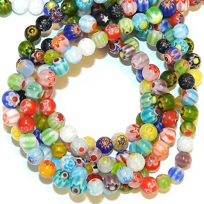 """G4313L2 Assorted Color Single Flower Millefiori 6mm Round Glass Beads 13"""""""