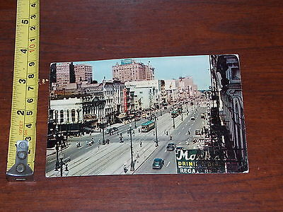Postcard Vintage Old Rare Canal Street New Orleans Louisiana Creased