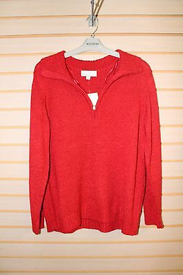 New Womens Plus Size 2X 2Xl Xxl Carolyn Taylor Red Half Zip Pull Over Sweater