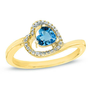 1/2 Ct Blue Topaz and Natural Diamond 10k Yellow Gold Heart Promise Ring
