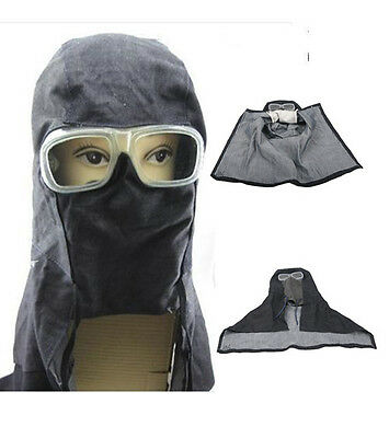 Face Mask Anti Dust Sand Full Blasting Hood with PVC Glasses Protective Tool