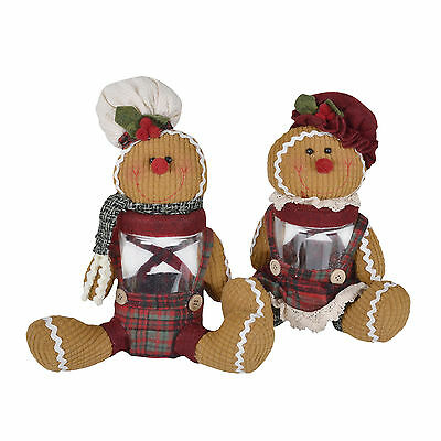 Sitting Gingerbread Figure Candy Sweetie Biscuit Jar Christmas Decoration Gift