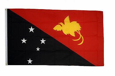 Papua New Guinea Flag 5 x 3 FT 100% Polyester With Eyelets National Country IE