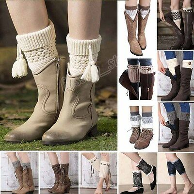 Womens Tassel Knitted Leg Warmers Socks Trim Button Boot Cover Cuffs Toppers