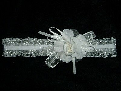 New White Christening Organza Flower Girls Headband
