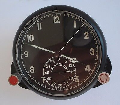 Rare 59 ChP Soviet USSR Military AirForce Aircraft Cockpit Clock (Achs) #12625