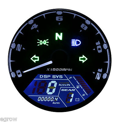 52mm Universal Motorcycle Digital Odometer KM/H Speedometer Gauge LED Backlight