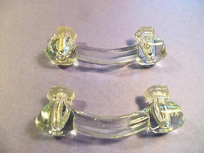 Lot of 2 Vintage Clear Glass Handles Drawer Pulls Cabinet Antique Furniture