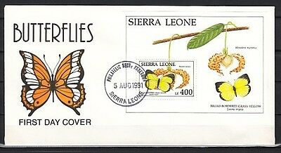 """"""" Sierra Leone, Scott cat. 1407. Butterfly s/sheet on a First day cover."""