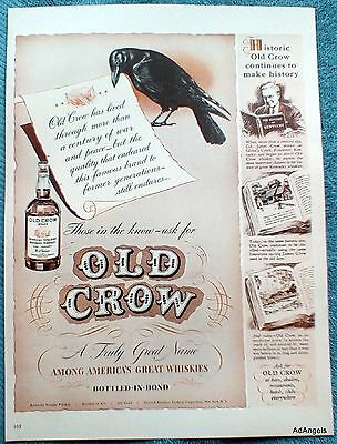 1942 Old Crow Whiskey Century War Peace Continues To Make History ad