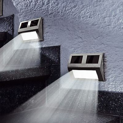 4 x Solar LED Wall Step Lights Stair Fence Outdoor Decking Garden Pathway