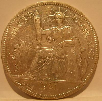 French Indo - China 1921H Silver Piastre XF - AU