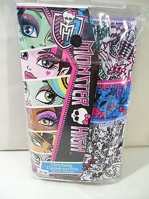 New Monster High Girls 3 Pack Panties Underwear, Size 10