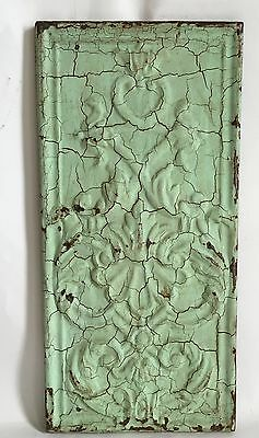 11 x 23 1890's Antique Tin Ceiling Tile Wrapped Green Wall Art Anniversary C20