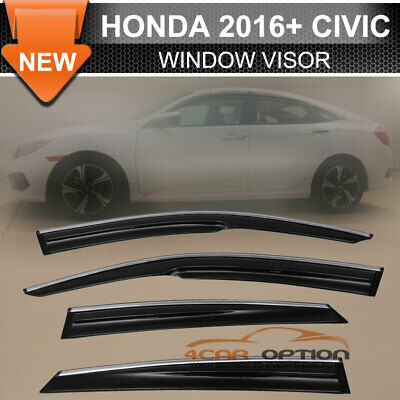 Smoke Fits 16-18 Civic X Sedan Mugen Window Visor Chrome Molding Trim Deflectors