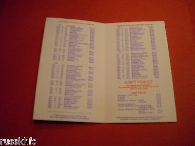 1986/87 Derby County Fixture Card