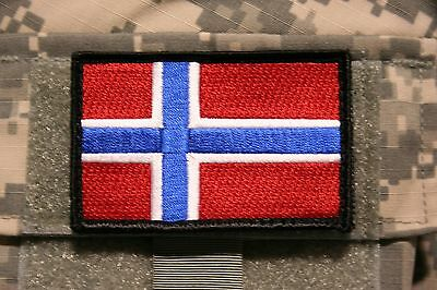 """norway flag patch embroidered hook and loop norwegian tactical 3"""" x 2"""""""
