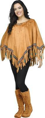 Women Adult Light Brown PONCH w/ FRINGE Indian Hippie Costume