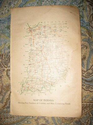 Antique 1917 Indiana Road Map Highway Indianapolis County Detailed Rare Nr